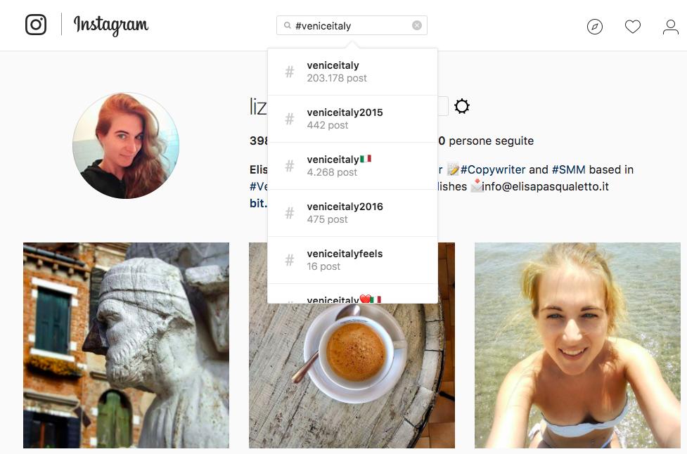 Usare Instagram da pc ricerca hashtag