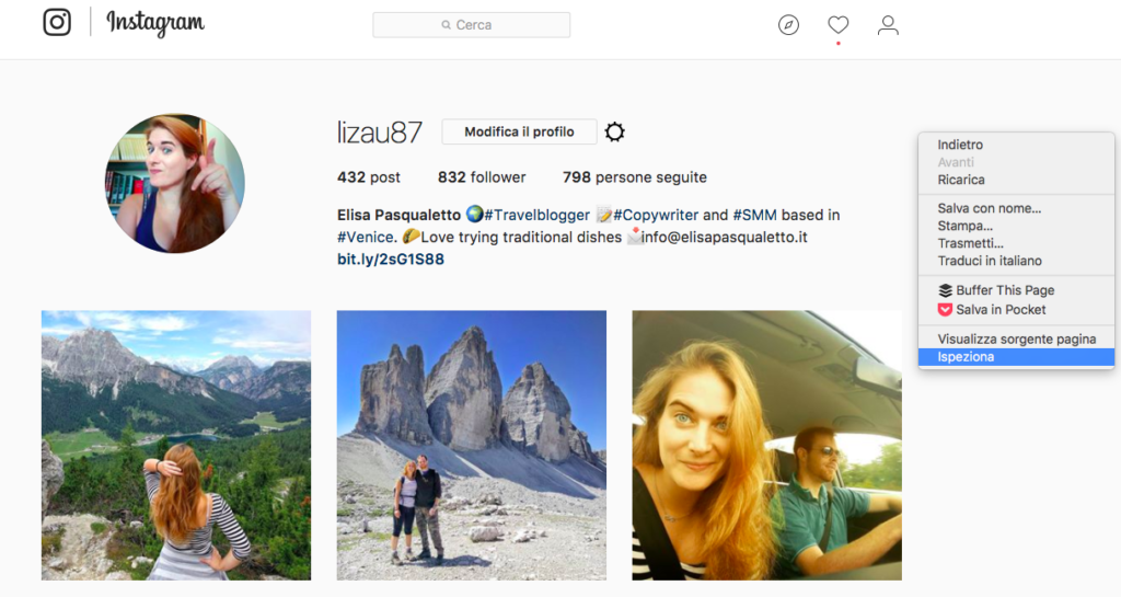 Come caricare foto su instagram da pc step 1