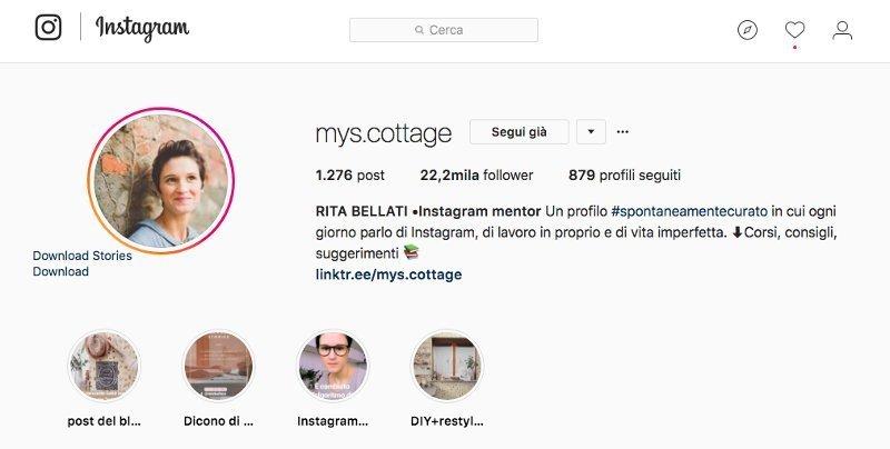 biografia su Instagram di My. Cottage
